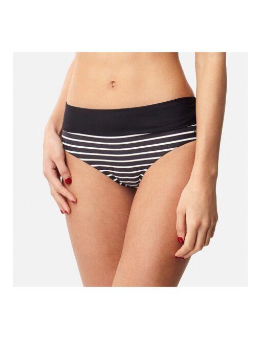 Braguita de bikini O'NEILL una pieza talle alto Mujer PW HIGH RISE BIKINI BOTTOM Ref. 8A8523 negro con rayas blancas