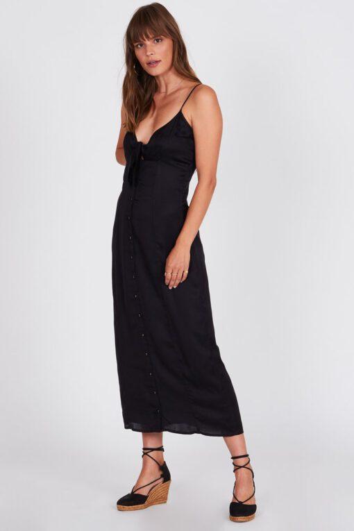 Vestido AMUSE SOCIETY largo con tirantes para mujer ISLAND FEVER DRESS-BLACK Ref. AD15KISL negro