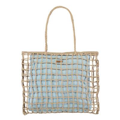 Bolso BARTS de mano de paja para mujer LYRIA SHOPPER light blue Ref. 6327 Yute natural bolsa interior azul