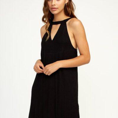 Vestido RVCA corto tirantes punto canalé para mujer BRANDY black Ref. NEDRRK Negro