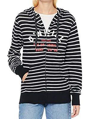 Sudadera O'NEILL con capucha y cremallera para mujer EASY FANTASTIC FZ HOODIE Ref. 8P6400 negra/blanca rayas