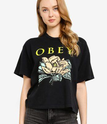 Camiseta manga corta OBEY chica Lotus flower Black Ref. 9056800 negra flores pecho