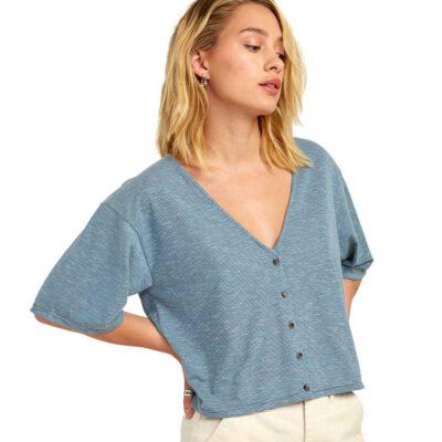 Camiseta top RVCA manga corta para mujer CHALKED TOP Storm Ref. S3TPRD Azul/blanca rayas