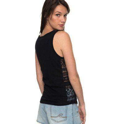 Camiseta ROXY tirantes laterales calados para Mujer Aloha Sun black (kvj0) Ref. ERJKT03350 negra