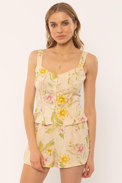 Top camisa AMUSE SOCIETY tirantes para mujer SIVA WOVEN TANK off white Ref. A506OSV flores