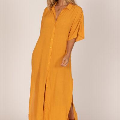 Vestido AMUSE SOCIETY largo manga corta para mujer Tranquilo ss woven blouse gold Ref. A516KTRA mostaza