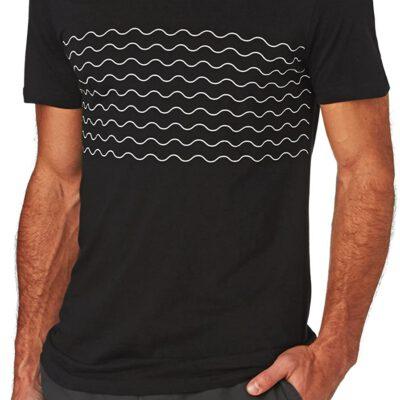 Camiseta Hombre RIP CURL manga corta Wavy Tee Black Ref. CTEWJ4 negra ondas blancas