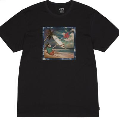 Camiseta BILLABONG para hombre manga corta First Sight Tee SS Black Ref. SS1SS75 negra calaveras surferas