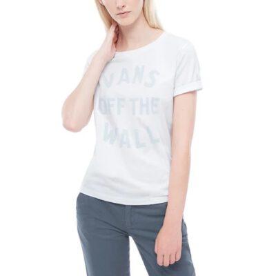 Camiseta Mujer VANS manga corta para mujer VINEYARD white Ref. VA3IQWWHT blanca logo pecho