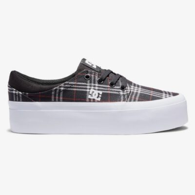 Zapatillas plataforma DC Shoes para mujer de lona TRASE PLATFORM BLACK/PLAID (bpd) Ref. ADJS300269 Negra cuadros