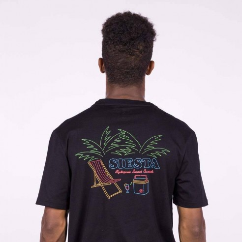 Camiseta Hombre HYDROPONIC manga corta T-SHIRT SIESTA 2.0 SS Black Ref. 20009 negra playa nevera