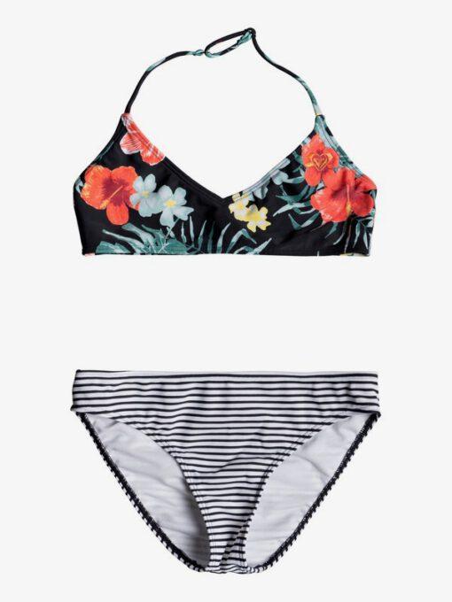 Conjunto de Bikini ROXY dos piezas Triangular Bralette niña Happy Spring (kvj5) Ref. ERGX203193 flores/rayas