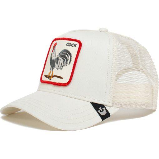Gorra GOORIN BROS BUTCH TRUCKER rejilla COCK Gallo Animales Blanca con detalles rojos