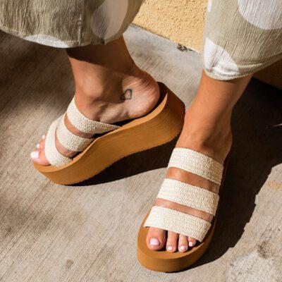 Sandalias plataforma BILLABONG Chanclas correas elásticas rafia para mujer SEABOUND Ref. S9FF06BIP0 natural