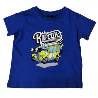 Camiseta RIP CURL manga corta niño surfera Car ss tee grom college blue Ref. OTEAK4 azul logo frontal