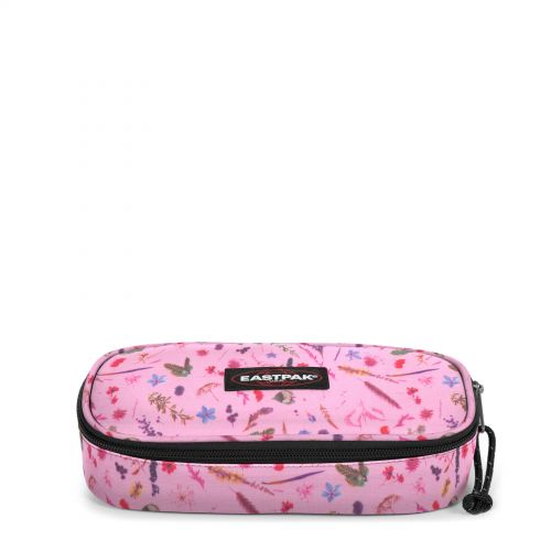 Estuche escolar Eastpak: PLUMIER OVAL EK717K44 Herbs Pink fondo Rosa con flores minis multicolor