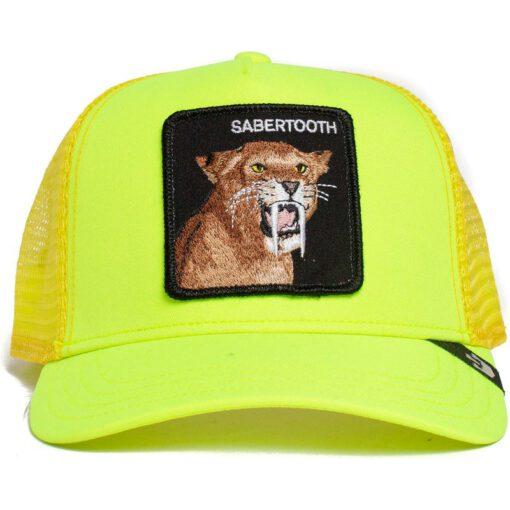 Gorra animales GOORIN BROS BUTCH TRUCKER dientes de sable Sabertooth Tootache amarillo fluor