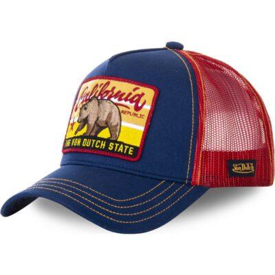 Gorra Von Dutch California rejilla y ajustable Trucker azul y roja FOR1 oso