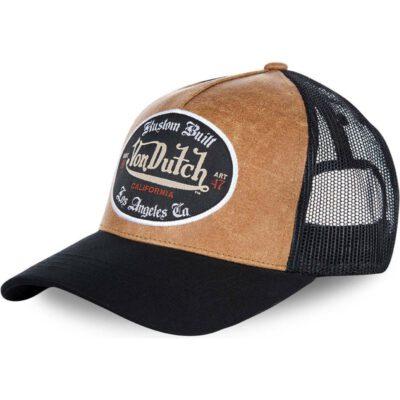 Gorra Von Dutch California rejilla y ajustable Trucker marrón y negra GRL Los Angeles