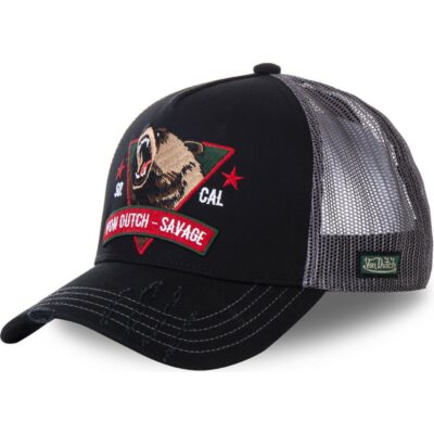 Gorra Von Dutch California rejilla y ajustable Trucker negra Savage SAV2 oso