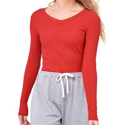 Camiseta transpirable RIP CURL manga larga para mujer Bello V Tee Rib Dark Red Ref. GTEBD5 roja