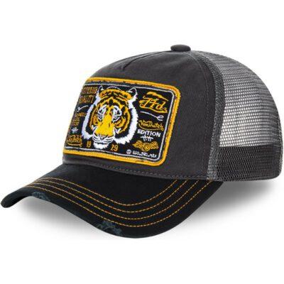 Gorra Von Dutch California rejilla y ajustable Trucker gris/amarilla tigre