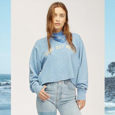 Sudadera BILLABONG cuello redondo para Mujer Wrangler Past Time AGED INDIGO (2866) Ref. Z3FL21BIF1 azul cielo
