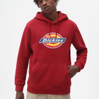 Sudadera DICKIES hombre con capucha suave Icon Logo Hoodie red Ref. DK0A4XCBB821 roja logo pecho